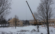 Монтаж каркаса дома фахверк в поселке OSKO-VILLAGE