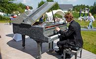 Изящный рояль из лунного камня.